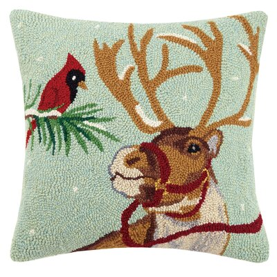 Reindeer Cardinal Hook Wool Throw Pillow
