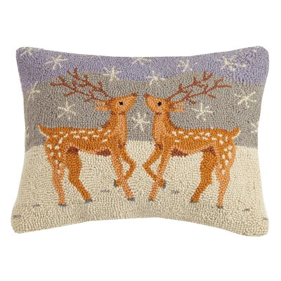 Reindeers Hook Wool Lumbar Pillow