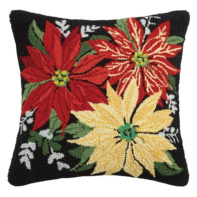 Poinsettias Hook Wool Throw Pillow