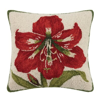 Amaryllis Flower Hook Wool Throw Pillow
