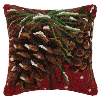 Pinecones Hook Wool Throw Pillow