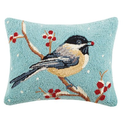 Chickadee Hook Wool Lumbar Pillow