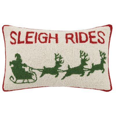 Sleigh Rides Hook Wool Lumbar Pillow