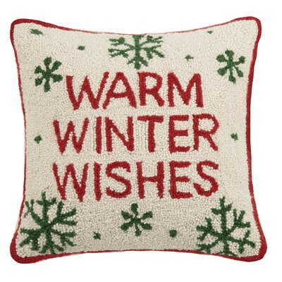Warm Winter Wishes Hook Wool Throw Pillow