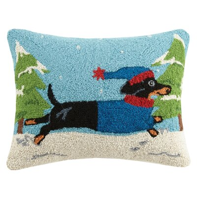 Winter Dachshund Hook Wool Lumbar Pillow