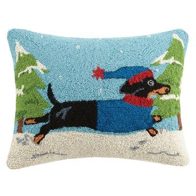 Winter Dachshund Hook Wool Lumbar Pillow