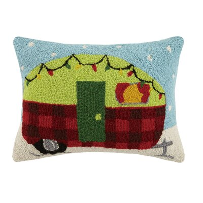 Holiday Camper Hook Wool Lumbar Pillow
