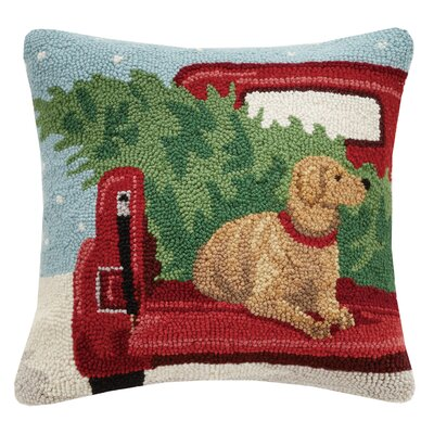 Lab on Truck Throw Pillow