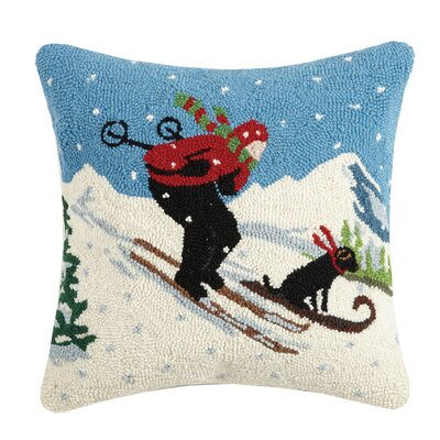 Skier with Dog Hook Wool Throw Pillow