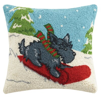 Winter Scottie Hook Wool Throw Pillow