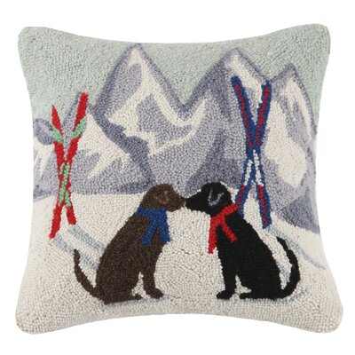 Labs Kissing Hook Wool Throw Pillow