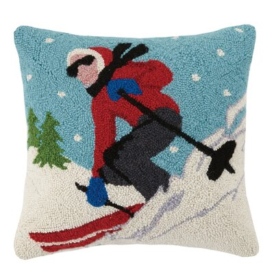 Fast Skier Hook Wool Throw Pillow