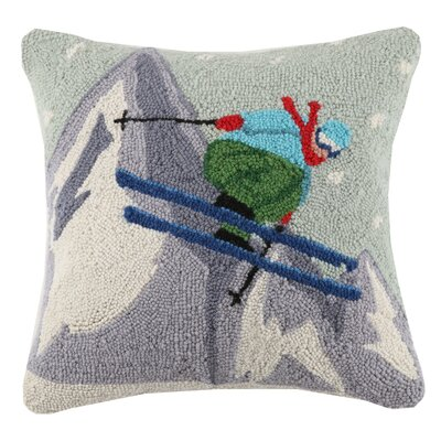 Ski Jumper Hook Wool Throw Pillow