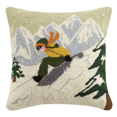 Saucer Sled Hook Wool Throw Pillow
