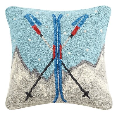 Cabin Ski Hook in Mountains Wool Throw Pillow