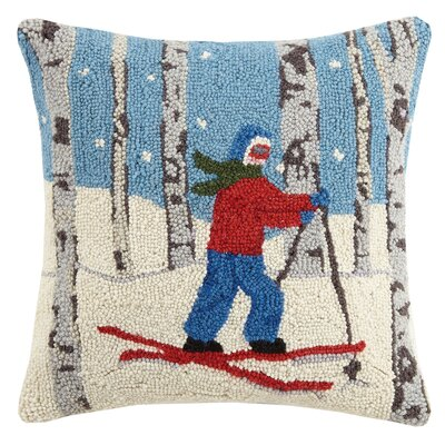 Cross Country Skier Hook Wool Throw Pillow