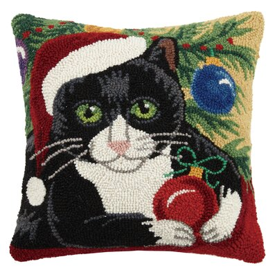 Holiday Cat Hook in Ornament Wool Throw Pillow