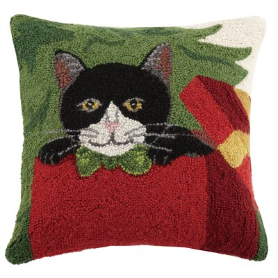 Holiday Cat Hook in Gift Box Wool Throw Pillow