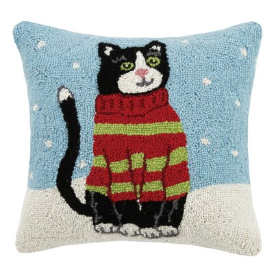 Holiday Cat Hook in Sweater Wool Throw Pillow