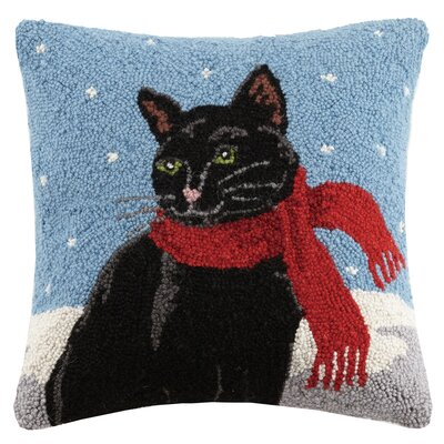 Holiday Cat Hook in Scarf Wool Throw Pillow