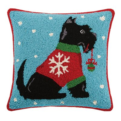 Christmas Scottie Hook in Ornament Wool Throw Pillow