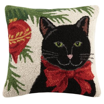Christmas Cat Hook in Ornament Wool Throw Pillow