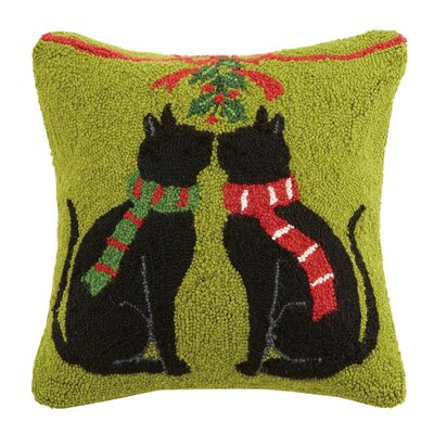 Christmas Cat Hook in Mistletoe Wool Throw Pillow