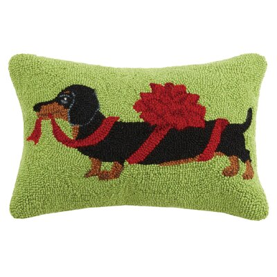 Christmas Dachshund Hook in Bow Wool Lumbar Pillow