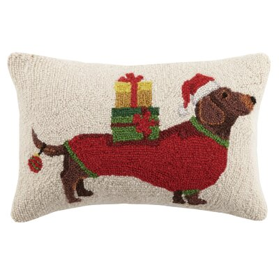 Christmas Dachshund Hook in Presents Wool Lumbar Pillow