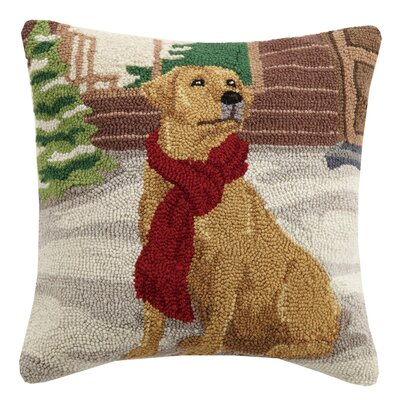 Christmas Lab Hook in Scarf Lab Wool Throw Pillow