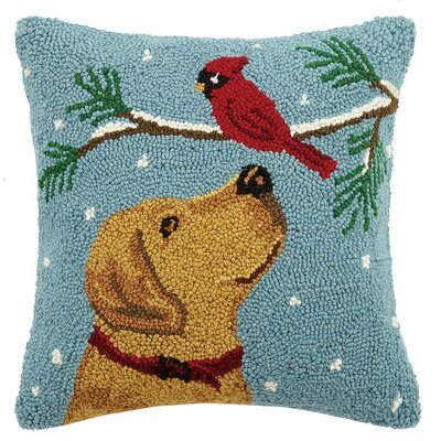 Christmas Dogs Hook in Cardinal Lab Wool Throw Pillow