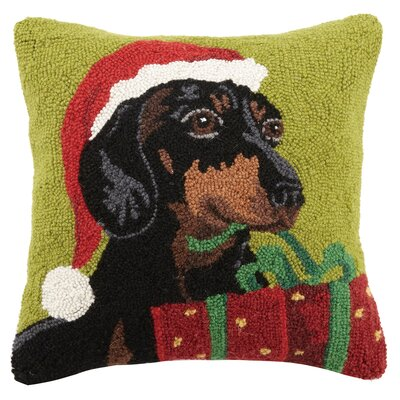 Christmas Dogs Hook in Present Dachshund Wool Throw Pillow