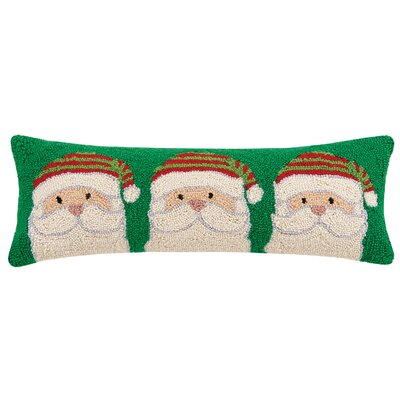 Santa Trio Hook Wool Lumbar Pillow