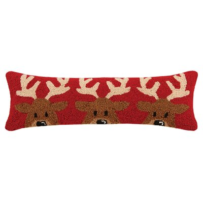 Santa Reindeer Trio Hook in Reindeer Wool Lumbar Pillow