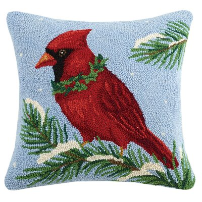 Cardinal Holly Wool Throw Pillow