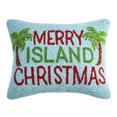 Island Christmas Hook Wool Lumbar Pillow