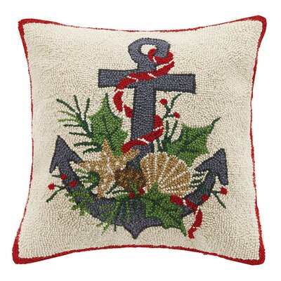 Island Christmas Coastal Anchor Wool Throw Pillow