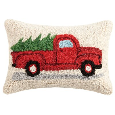 Tree on Truck Hook Wool Lumbar Pillow