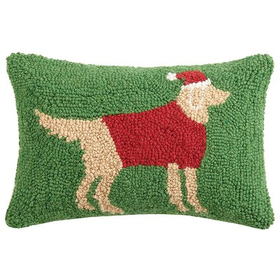 Holiday Retriever Hook Wool Lumbar Pillow