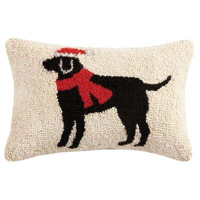 Christmas Lab Hook Wool Lumbar Pillow