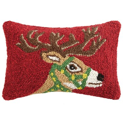 Holiday Reindeer Hook Wool Lumbar Pillow