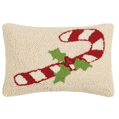 Candy Cane Hook Wool Lumbar Pillow