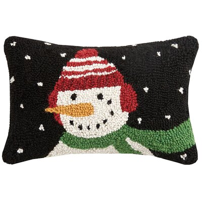 Snowman Hook Wool Lumbar Pillow