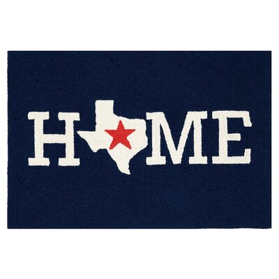 Roeut Home Texas Hand Hooked Wool Blue Area Rug