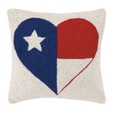 Sechovicz Heart Texas Flag Wool Throw Pillow