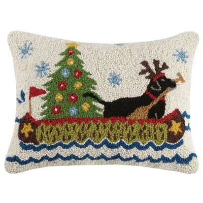 Modern Holiday Dogs Wool Lumbar Pillow