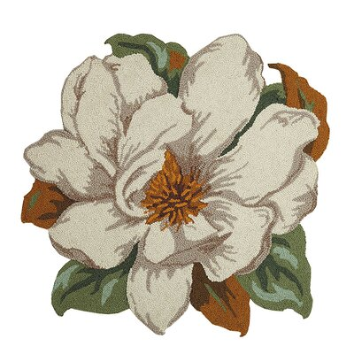Fogel Floral Shaped Hand Hooked Wool Ivory Area Rug