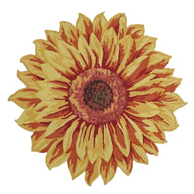 Salerno Floral Shaped Hand Hooked Wool Yellow Area Rug