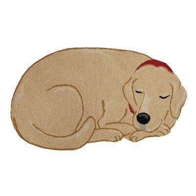 Claiborne Dog and Cat Hand Hooked Wool Beige Area Rug