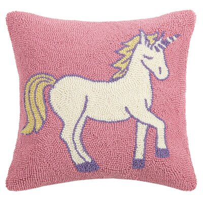 Beech Hill Pastel Flag Unicorn Wool Throw Pillow